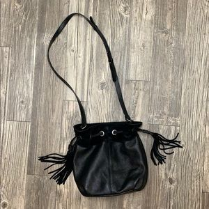 Black drawstring, crossbody purse